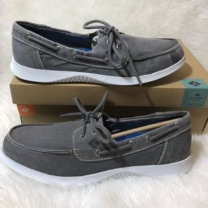 Men's Sperry Size 9.5 Boat Shoes Grey Canvas